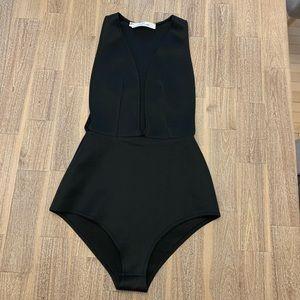 Oh My Love Plunge Black Bodysuit XS